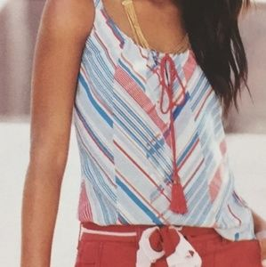 CAbi Red, White & Blue Tassle Tank Small